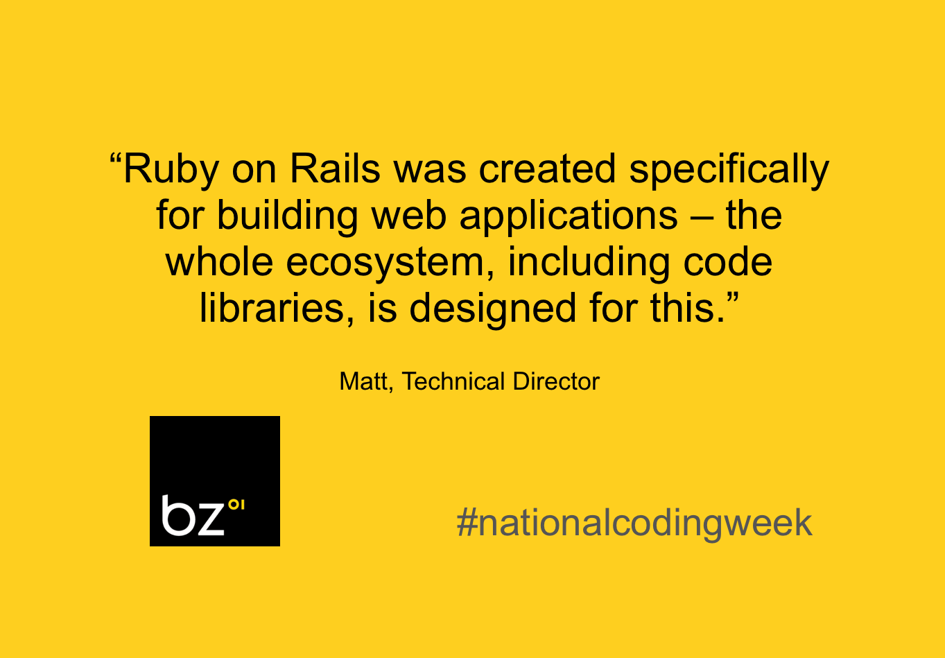 """""""Ruby on Rails was created specifically for building web applications – the whole ecosystem, including code libraries, is designed for this."""""""